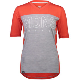 Mons Royale Phoenix Enduro V-Neck T-Shirt Dame poppy/grey marl